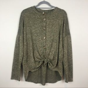 Cardigan sweater tie front olive green